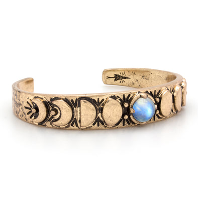 Moon Phases Cuff Bracelet | Moonstone