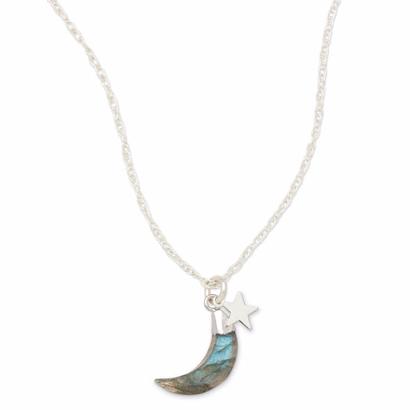 This simple, bohemian style Necklace features a Labradorite gemstone faceted to a Crescent Moon, in a silver dipped setting, hanging with a Silver Star charm, on a Sterling Silver chain.