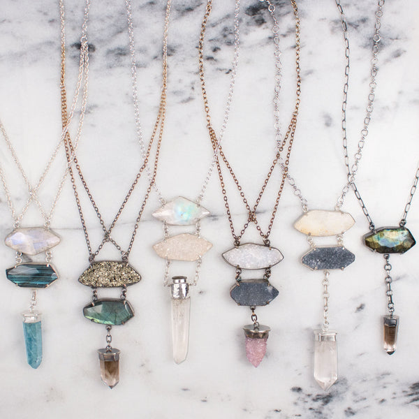 Crystal Ladder Necklace | Quartz Crystal
