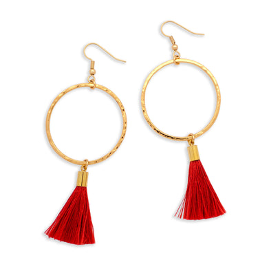 Pop Tassel Earring | Gold / Cherry | Tribe Jewelry by Sarah Lewis