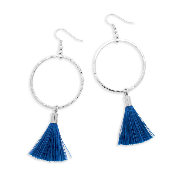 Pop Tassel Earring | Silver / Cobalt Blue | Tribe Jewelry by Sarah Lewis