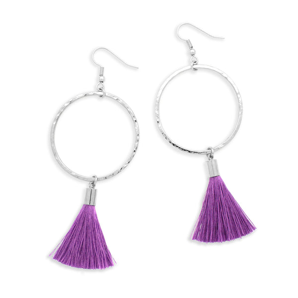 Pop Tassel Earring | Silver / Lilac | Tribe Jewelry by Sarah Lewis
