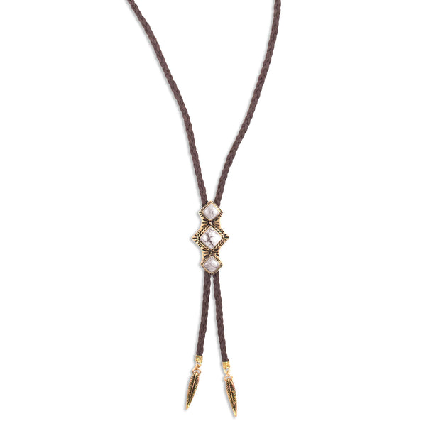 Shero Bolo Necklace | Gold / Howlite | TRIBE Jewelry