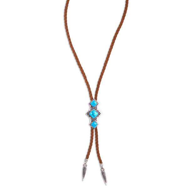 Shero Bolo Necklace | Silver / Turquoise | TRIBE Jewelry