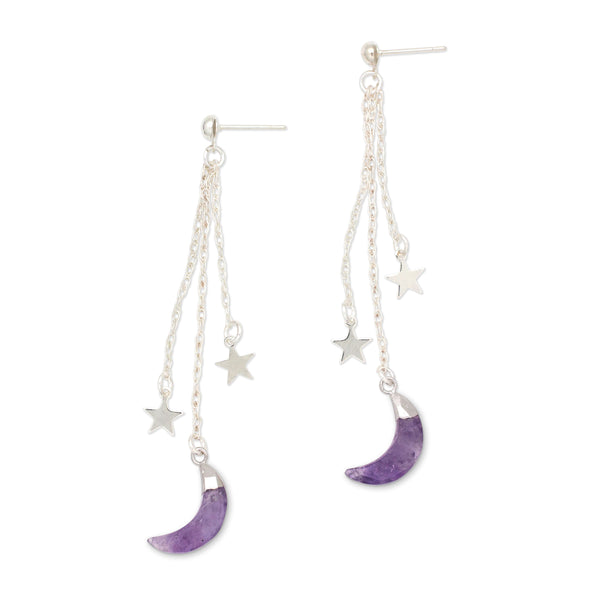 Shooting Stars Earrings | Silver / Amethyst | TRIBE Jewelry by Sarah Lewis