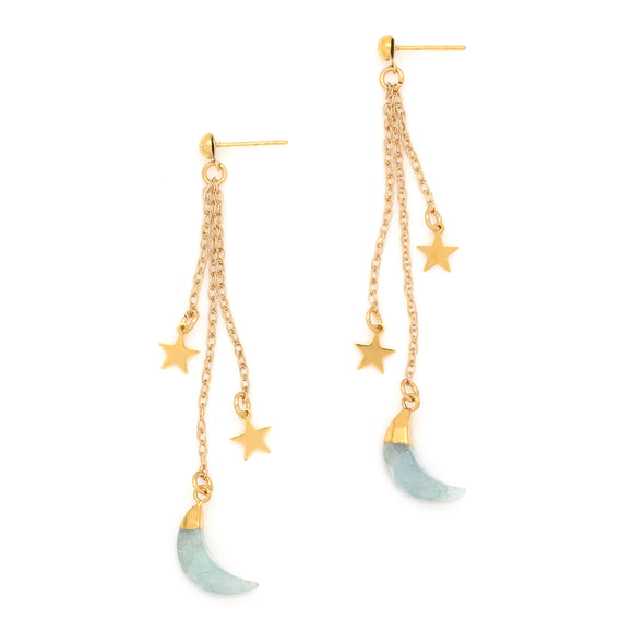 Shooting Stars Earrings | Gold / Aquamarine | TRIBE Jewelry by Sarah Lewis