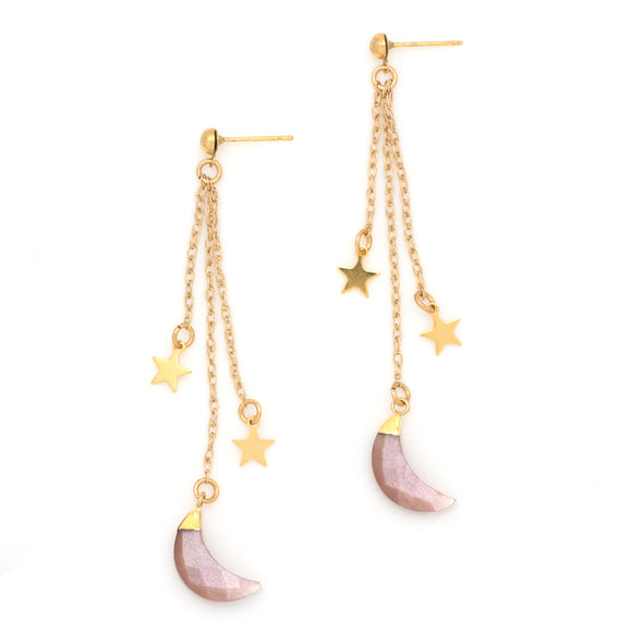 Shooting Stars Earrings | Gold / Moonstone | TRIBE Jewelry by Sarah Lewis