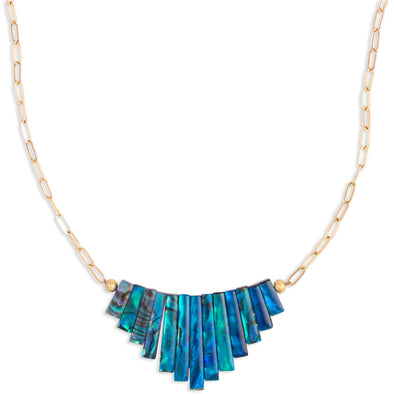 A Necklace featuring a fan of blue / green Mother of Pearl Beads hanging on a Gold filled chain.