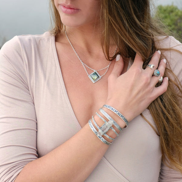 Stacking Cuff | Silver / Ivy | TRIBE Jewelry