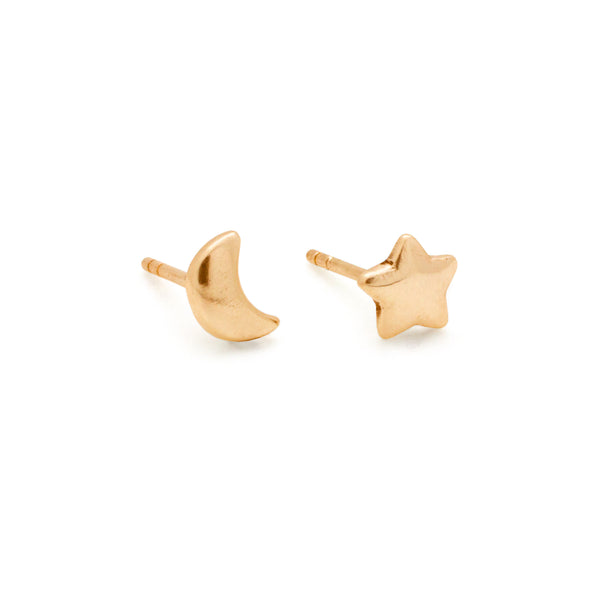 Moon & Star Stud Earrings | Gold