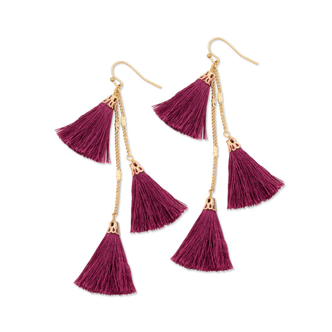 Fiesta Tassel Earring | Bordeaux | TRIBE Jewelry by Sarah Lewis