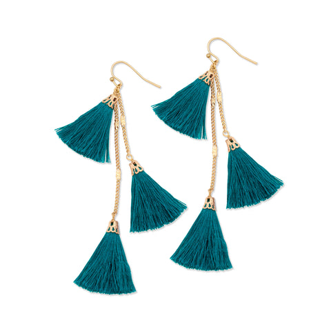 Fiesta Tassel Earring | Teal | TRIBE Jewelry by Sarah Lewis