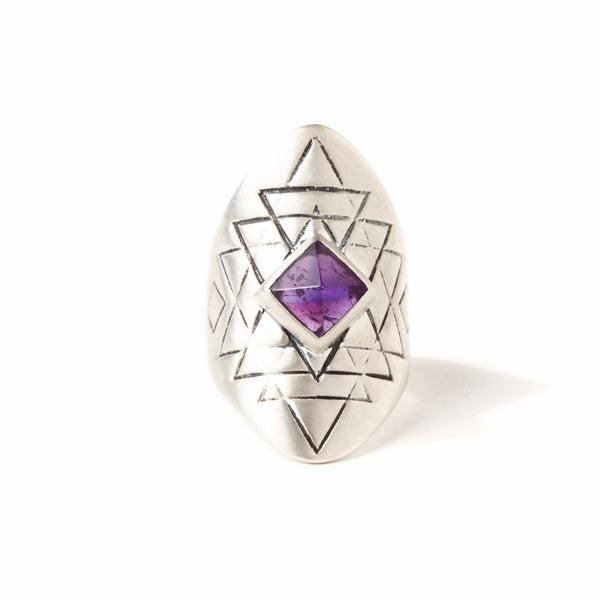 Yantra Ring | Silver / Amethyst | TRIBE Jewelry