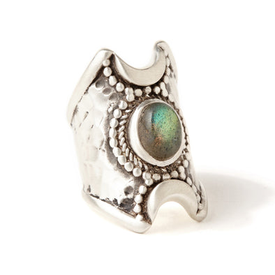 Crescent Moons Ring | Labradorite