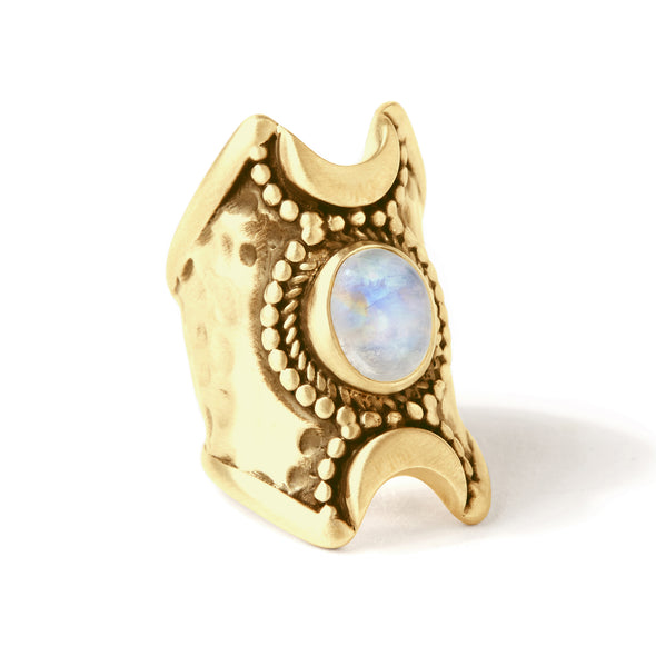 Crescent Moons Ring | Gold / Moonstone