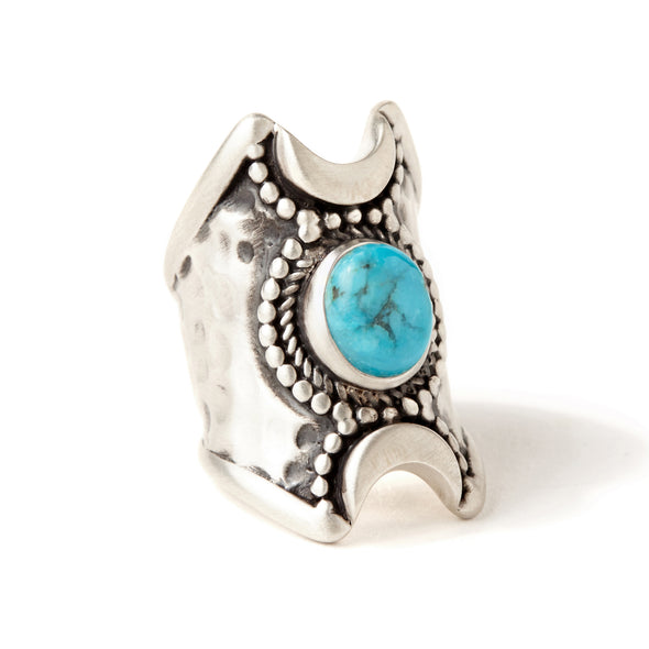 Crescent Moons Ring | Silver / Turquoise