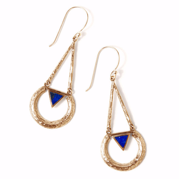 Eclipse Earring | Gold / Lapis | TRIBE Jewelry
