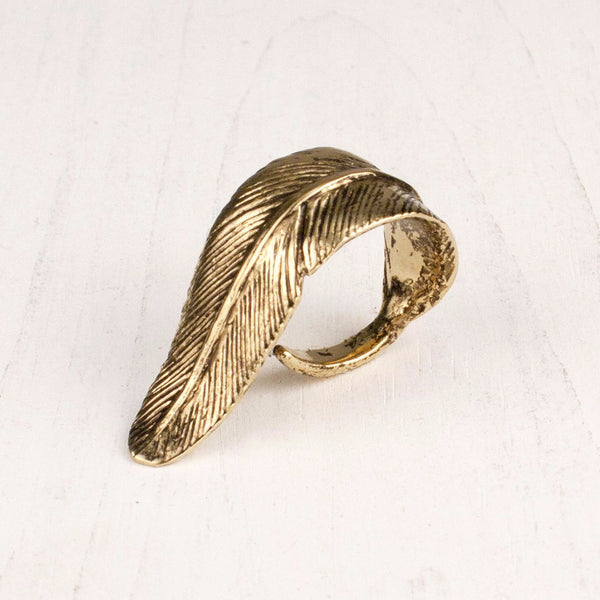 Golden Feather Ring | TRIBE Jewelry