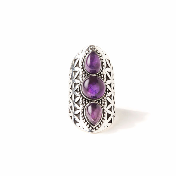 Flower of Life Ring | Silver / Amethyst | TRIBE Jewelry