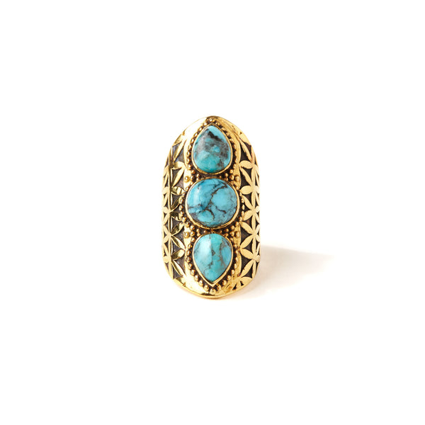 Flower of Life Ring | Gold / Turquoise | Band of Gypsys | Adorn by Sarah Lewis Jewelry