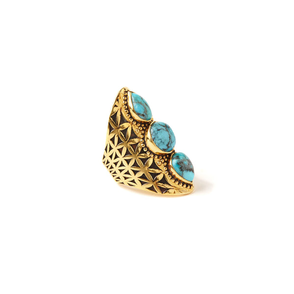 Flower of Life Ring | Gold / Turquoise | TRIBE Jewelry
