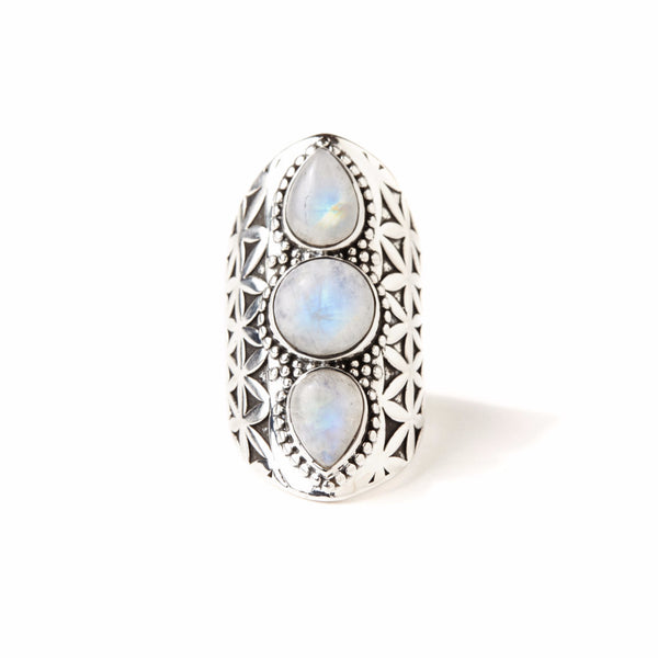 Flower of Life Ring | Silver / Moonstone | TRIBE JEWELRY