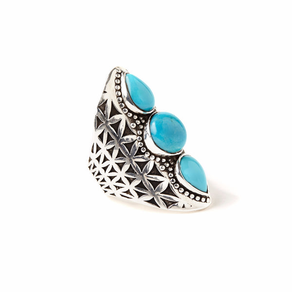 Flower of Life Ring | Silver / Turquoise | TRIBE Jewelry
