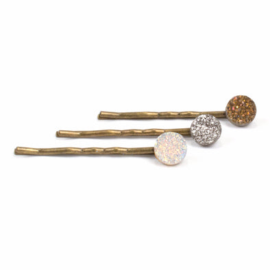 Crystal Hairpin Set | Drusy Quartz | TRIBE Jewelry