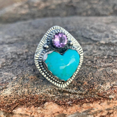 FOLLOW YOUR HEART RING | TURQ / AMETHYST