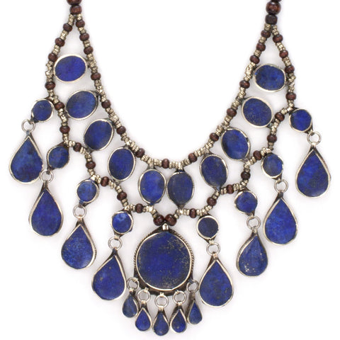 Kuchi Tribal Bib Necklace | Lapis Lazuli | Tribe Gathered Collection | Gypsy Jewelry