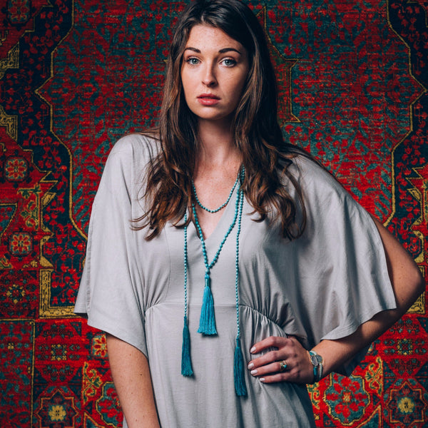 Tassel Larait Necklace | Turquoise | Love & Light | TRIBE Jewelry