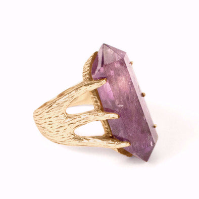 A Bohemian style statement ring featuring an Amethyst crystal set in 16K Gold Plated Brass, by Tribe Jewelry Designer Sarah Lewis.