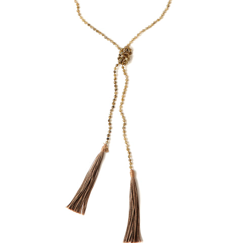 Tassel Lariat Necklace | Labradorite | TRIBE Jewelry