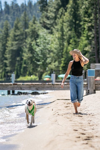 Dog and woman running by the beach