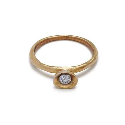 Cup Bronze Ring with White Topaz