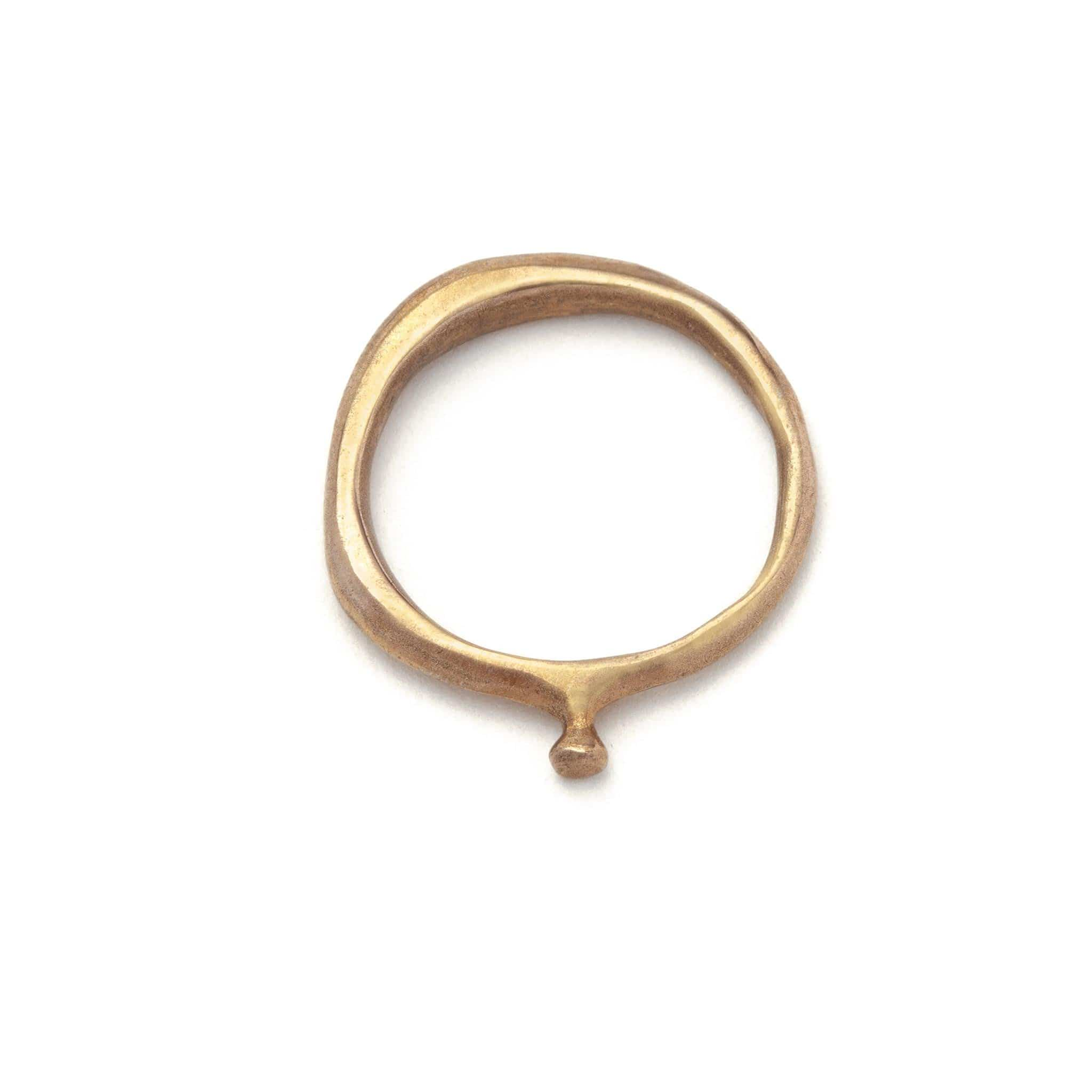 Julie Cohn Design. Bronze Tiny Solitaire ring. Handcrafted in the USA. Bronze artisan jewelry.