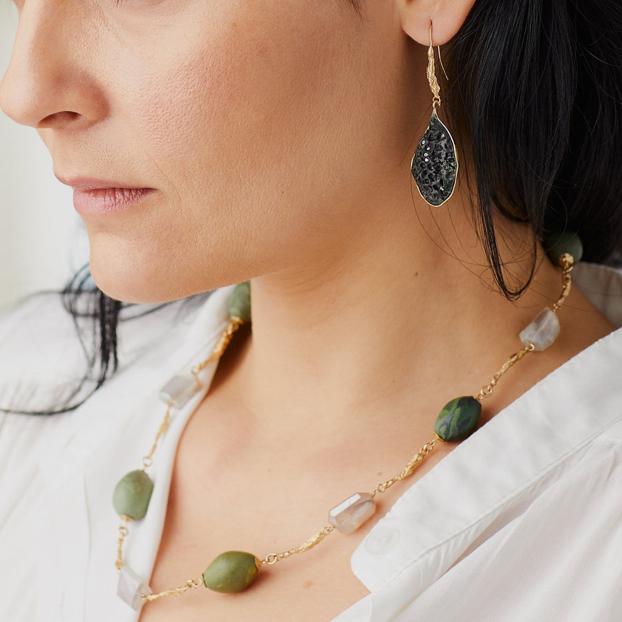 VERDE TWIG LINK BRONZE MOONSTONE NECKLACE
