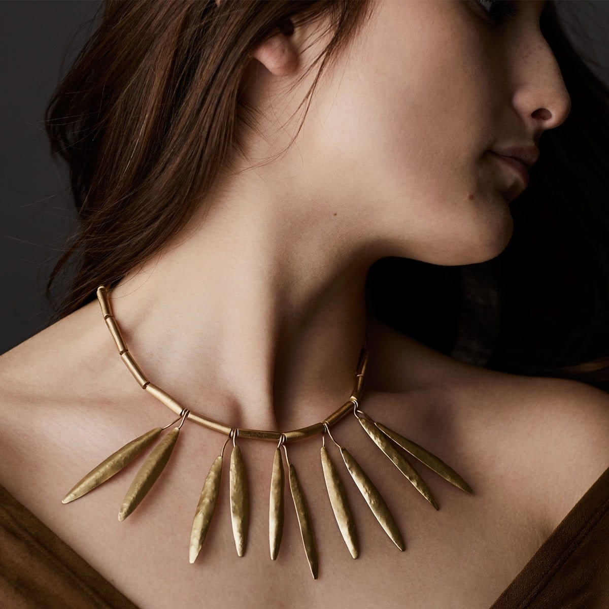 Yew Leaf Bronze Necklace - Julie Cohn Design