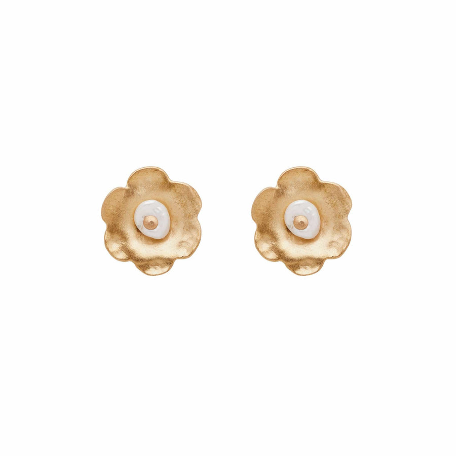 DAISY PEARL POST EARRINGS Julie Cohn Design Artisan Bronze Jewelry Handmade