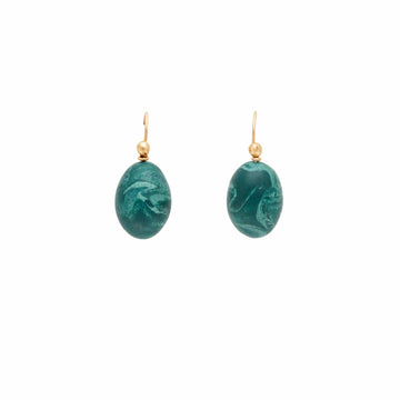 MALACHITE CLAY EGG EARRINGS JCE346 Julie Cohn Design Artisan Bronze Jewelry Handmade