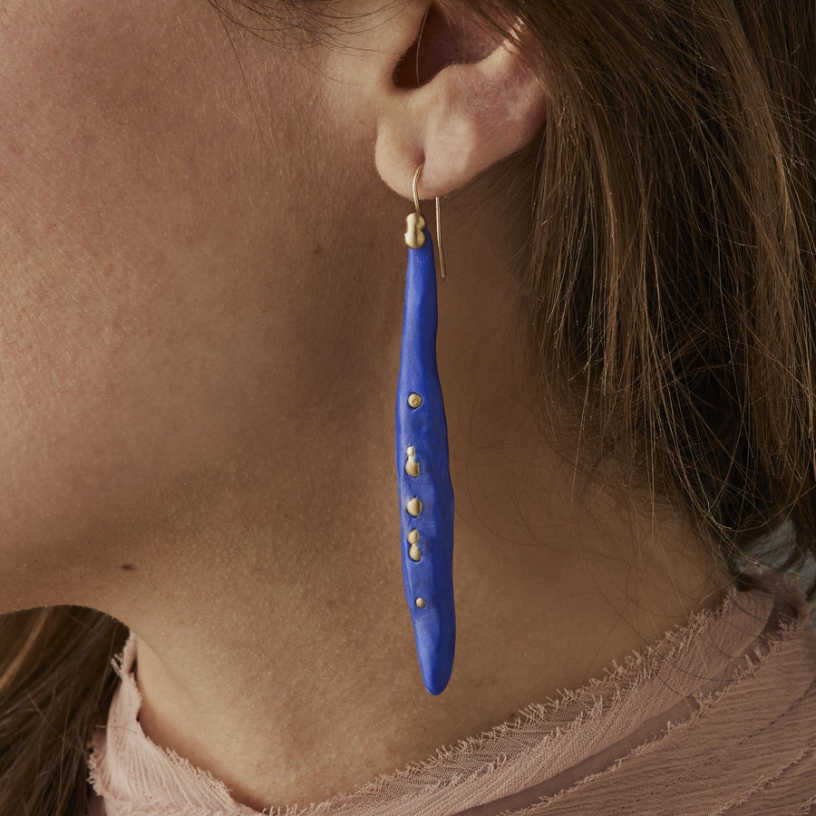 COBALT SPEAR CLAY BRONZE EARRINGS JCE347 Julie Cohn Design Artisan Bronze Jewelry Handmade