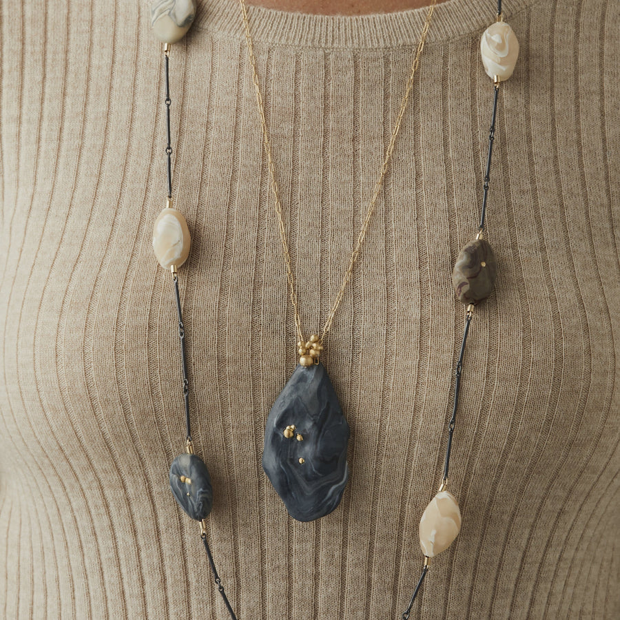 RIVER STONE CLAY MIXED METAL NECKLACE JCN437 Julie Cohn Design Artisan Bronze Jewelry Handmade