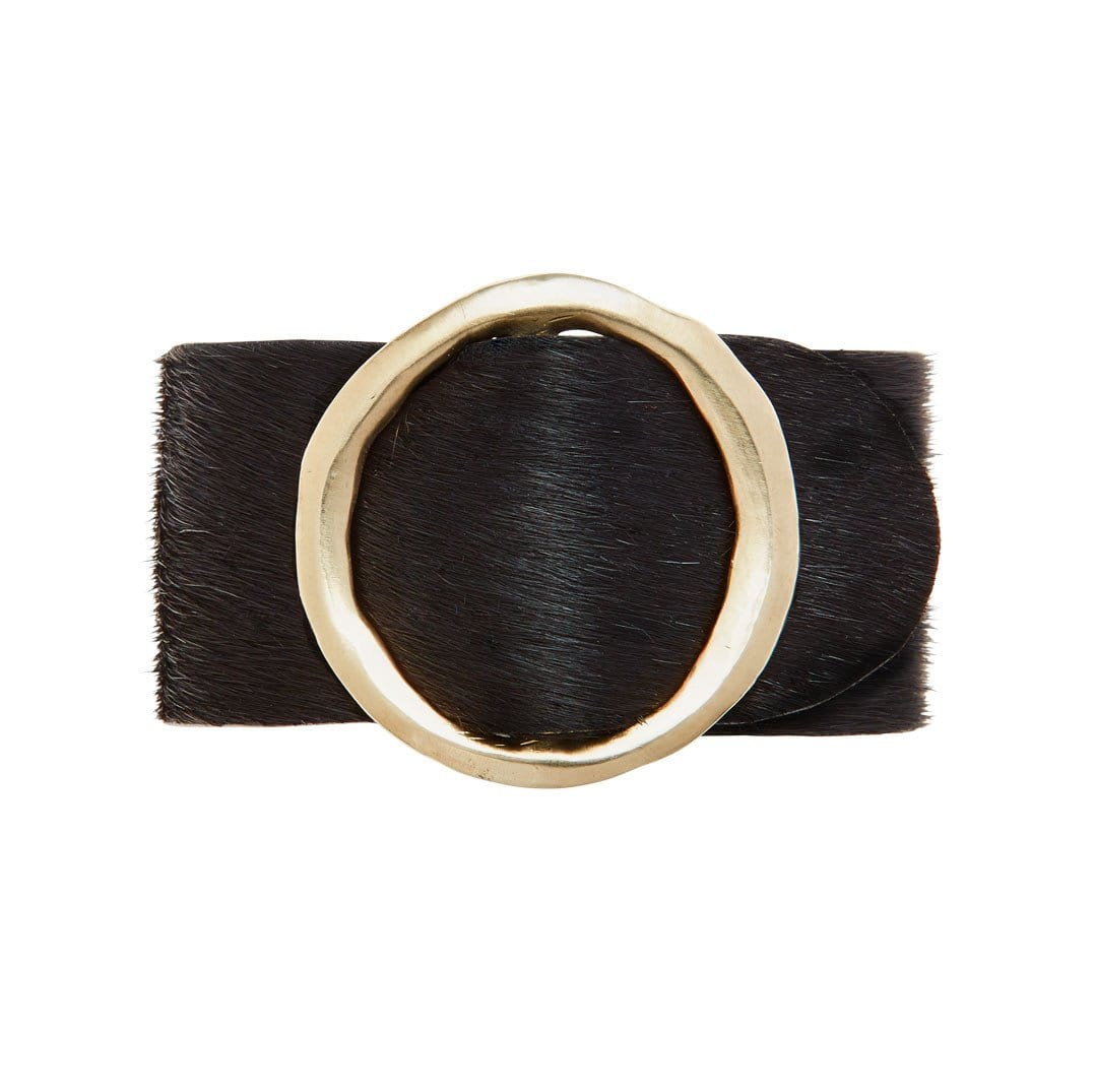 Eclipse Buckle Black Hair on Hide Bracelet