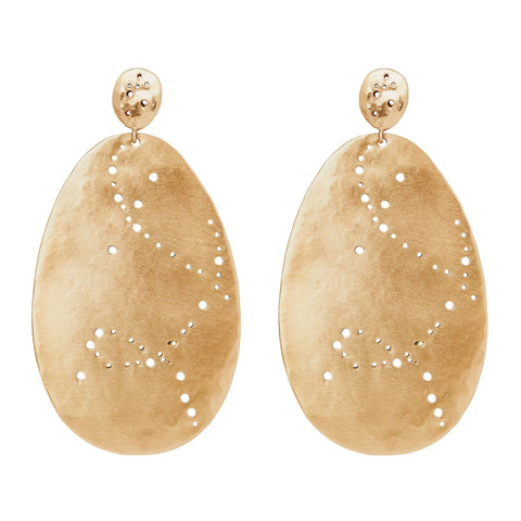 Julie Cohn Design. Hand fabricated and pierced bronze Fontana earrings. Artisan jewelry. handcrafted in the USA.
