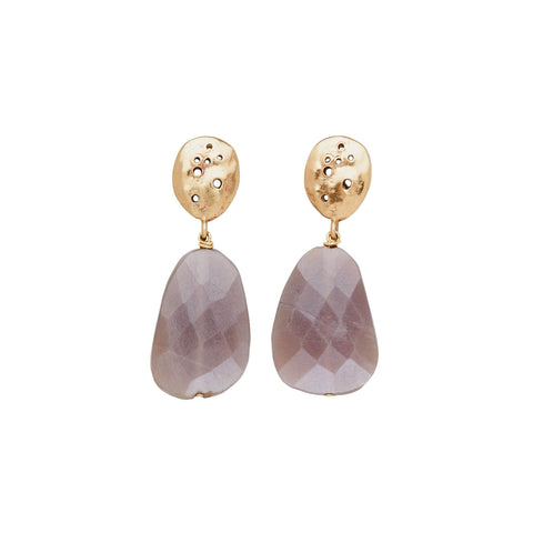 Julie Cohn Design. Pierced bronze and faceted moonstone earrings. Artisan jewelry. Handcrafted in the USA.