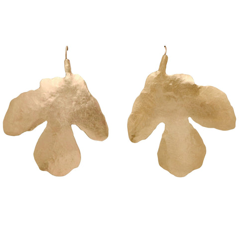 Julie Cohn Design hand forged bronze fig leaf earrings.