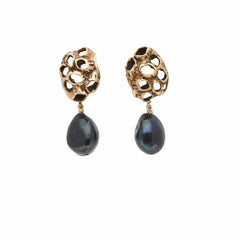 Julie Cohn Design. Bronze Barnacle earrings with black pearl. Handcrafted in the USA. Bronze artisan jewelry.