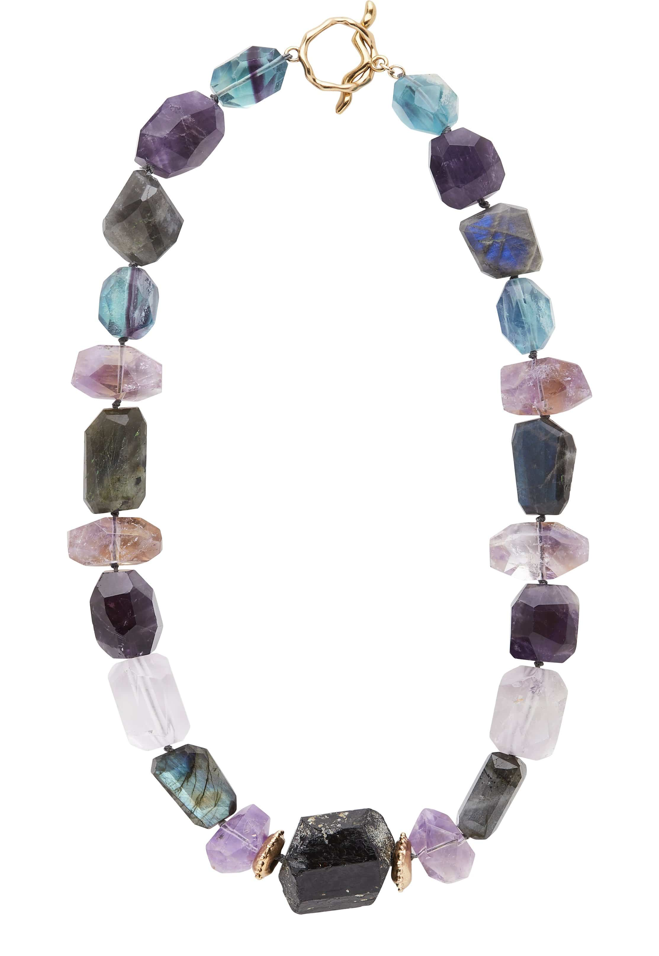 Julie Cohn Design. Galapagos Necklace with black tourmaline, amethyst and labradorite. Handcrafted in the USA. Bronze artisan jewelry.