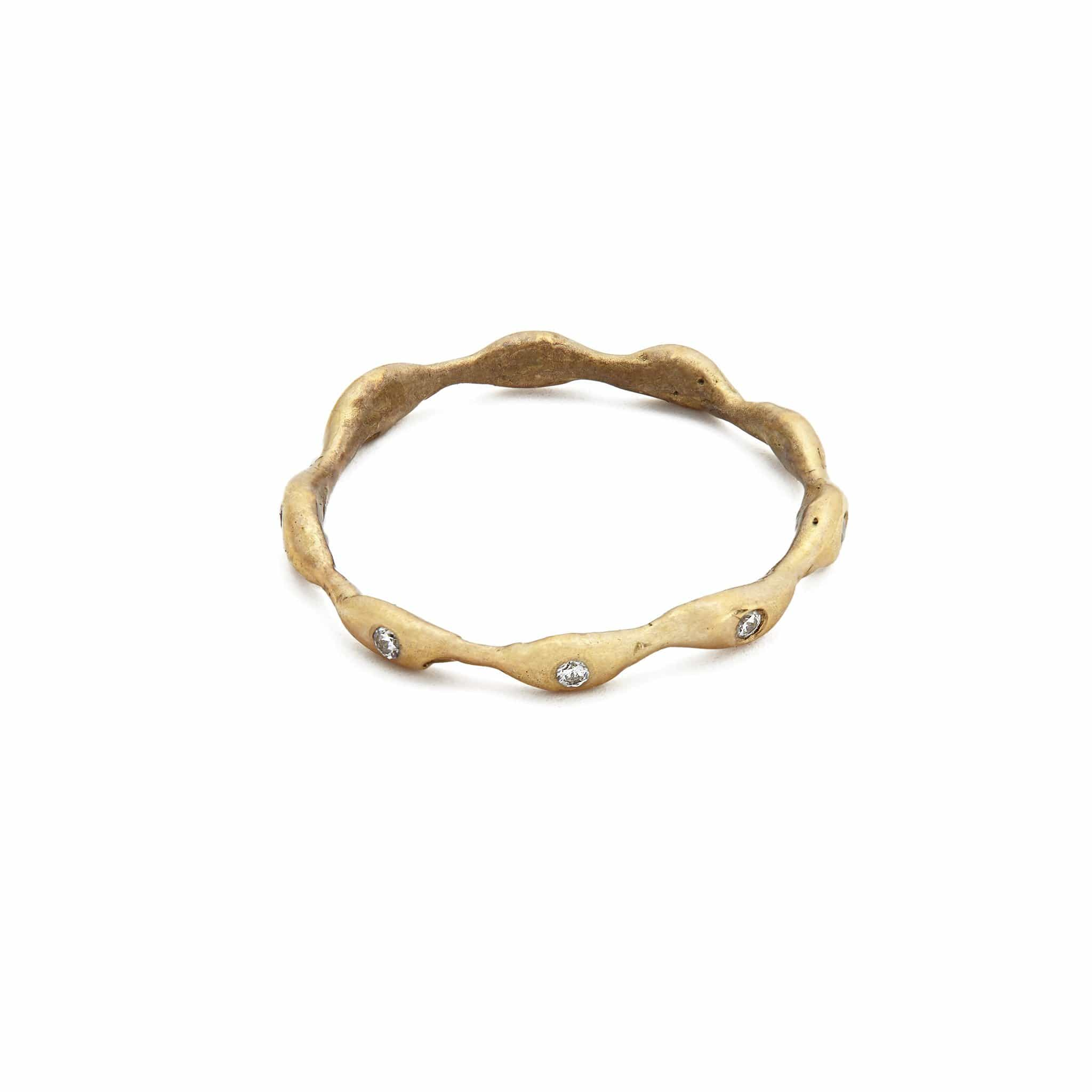 Gold Seaweed Band with White Topaz