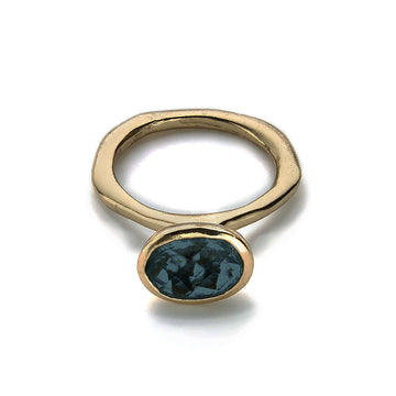 Julie Cohn Design. Bronze Cleopatra Ring Blue Topaz.